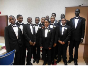 Tyree Brown and his classmates prior to their commencement ceremony at St. Martin  DePorres Church in June 2012